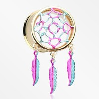 A Pair of Golden Dreamcatcher Feather Dangle Ear Gauge Plug