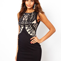 Lipsy Dress with Contrast Cutwork Detail