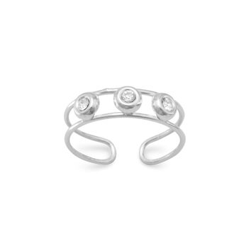 3 Crystal Toe Ring in Sterling Silver