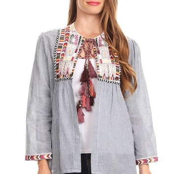 1006-Denim pinstripe embroidery jacket
