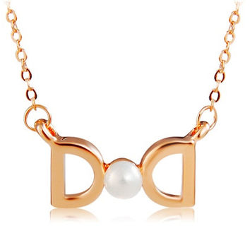 Rigant Dual D Pendant Pearl Decorated Necklace (Gold)