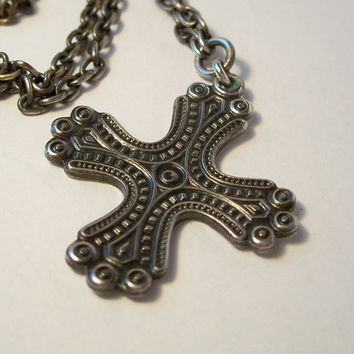 Vintage Modernist Scandinavian Cross,Sterling Cross,Cross Made in Finland,Maltese Cross Necklace,Finland Sterling Silver,Unusual Cross,Cross