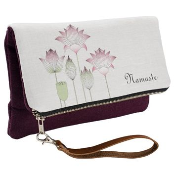 Elegant Chic Pink Lotus Floral Personalized Clutch