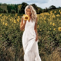 Boho Chic Hollow Out Embroidery Dress V Neck Sleeveless Dresses White Elegant Midi Dress Women Dresses Vestidos
