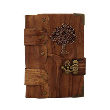 Tree Of Life Pendant on a Brown Small Leather Journal / Notebook / Diary / Sketchbook / Leatherbound