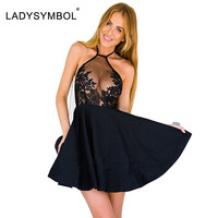 LadySymbol Elegant Black Summer Lace Casual Dress Women Halter Gauze Metallic Party