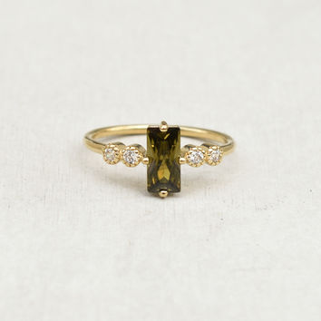 Large Baguette Ring - Gold + Olive