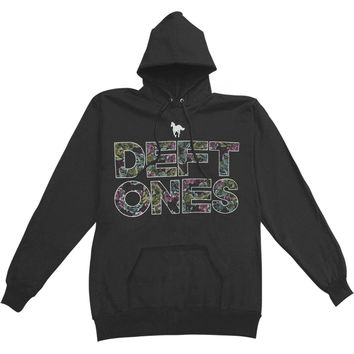 Deftones Men's  Minerva Fill Text on Black - Pullover Hooded Sweatshirt Black