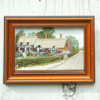 Vintage Plaster Painting of English Cottage, Small Framed Art, Shakespeare, made in England, Stratford on Avon, Colchester Farm House
