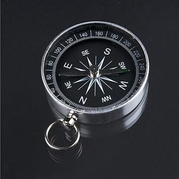 Travel Hiking Camping Navigation,  Key Ring for Keychain 44mm Silver Aluminum Alloy Metal Handheld Pocket Mini Compass