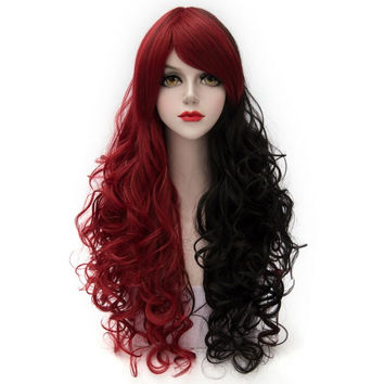 Fashion Long Synthetic Fluffy Curly Side Bang Charming Red Splicing Black Capless Cosplay Wig For Women