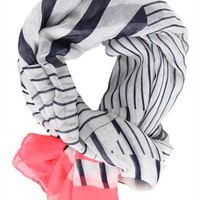 Striped Scarf with Neon Trim