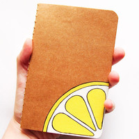 Decorated notebook, handpainted journal with a lemon slice, scribble notepad, diary notebook, back to school gift idea, recipes book