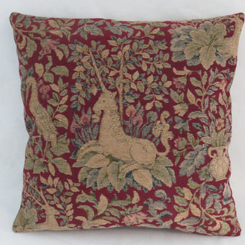 "Unicorn Tapestry Pillow, Chenille 18"" Sq, Burgundy Red Gold Teal Green, Medieval Fairy Tale Motifs, Birds Dog Leave Urns Verdure, Ready Ship"