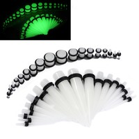 BodyJ4You Gauges Kit 18 Pairs Glow-in-the-Dark Acrylic Tapers & Plugs 14G-00G 36 Pieces