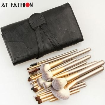 24pcs Makeup Brush Set In A Leather Case