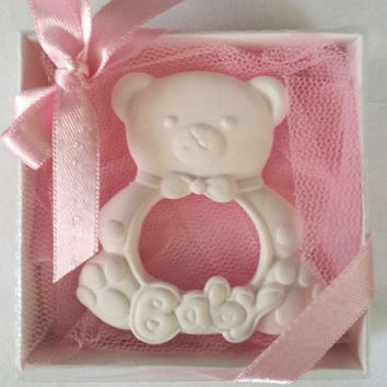 Scented stone bear frame , Baby shower gift , Party favor , Birthday gift , Ornament , New baby ,
