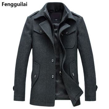 Winter Wool Slim Fit Pea Coat for Men