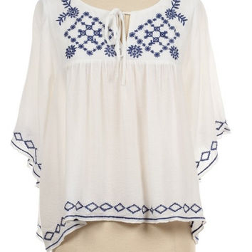 70s Inspired Embroidered Flowy Peasant Top Boho Hippie