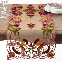 Alessandra Floral Embroidered Table Runners | 72-Inch