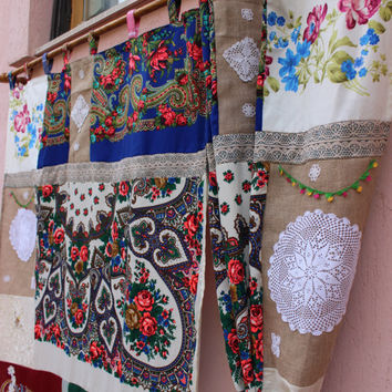 Scarf Curtain Gypsy Curtain Boho Panels REadY To Ship Hippie Curtain EXPRESS SHIPPING