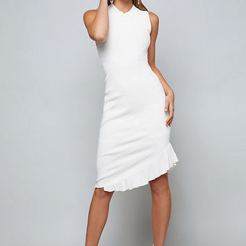 POINTELLE ASYMMETRIC DRESS