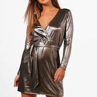 Petite Tanya Metallic Wrap Front Skater Dress | Boohoo