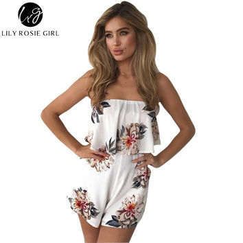 Off Shoulder Boho Style Floral Print Playsuit Women Sleeveless Rompers Elegant Sexy Beach Holiday Autumn Jumpsuits Overalls