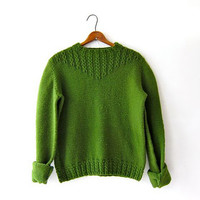 Vintage avocado green sweater.  50s knit sweater. cable knit pullover.