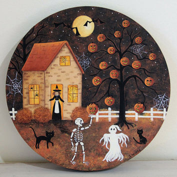 Halloween Folk Art Wooden Plate -MADE TO ORDER - Primitive Hand Painted Spooky Night with Pumpkin Treeitch, Skeleton, Ghosts, Pumpkins