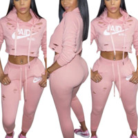 Casual Long-Sleeved Letter Two-Piece Pants