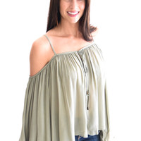 Wildflower Open Shoulder Top Sage