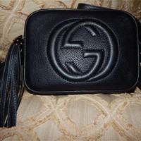 -/*- Authentic-GUCCI-shoulder-bag Soho disco bag patent leather purple black