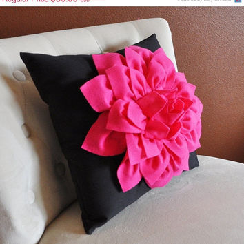 MOTHERS DAY SALE Pillows - Hot Pink Dahlia Flower on Black Pillow