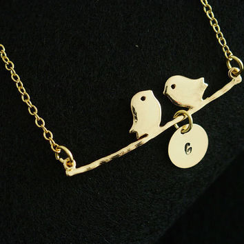 Personalized Mothers Necklace 1 Baby Birds Necklace 18k Gold Bird Family Necklace Bird Family Tree OUR LITTLE FAMILY