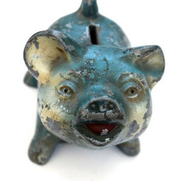 Vintage Cast Iron Blue Pig Piggy Bank From Jackson County Saving, Oregon, Piggy Bank, Home Decor, Kids Room Decor