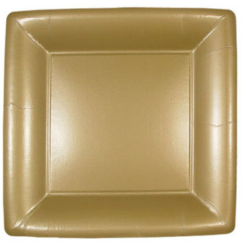 Gold Square 7'' Paper Dinner Plates Case Pack 18