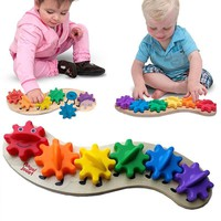 Kids Colorful Gear Caterpillar Toy Children Wooden Puzzle Twisting Toy