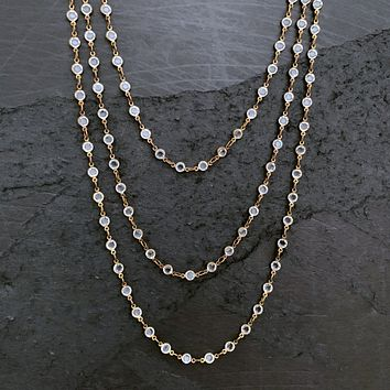 Long Vintage Style Delicate Crystal Brass Chain Necklace