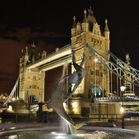 Tower Bridge with the Girl and a Dolphin Fountain, London. Art Print by Becky Dix | Society6
