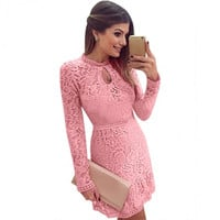 Stylish Women's Bodycon Cocktail Floral Lace Dress Ladies Long Sleeve Flouncing Hem Party Dress
