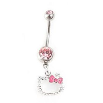 Hello Kitty 14G Pink Cubic Zirconia Navel Barbell - 196756