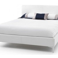 Serene Furnishings Monza   Monza White Faux Leather Bed Frame   Bedsdirectuk.net