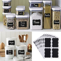 36 x Fancy Black board Kitchen Jam Jar Label labels stickers. 5cm x 3.5cm chalkboard