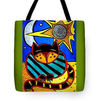 Sun And Moon - Honourable Cat - Art By Dora Hathazi Mendes Tote Bag