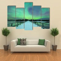 Spectacular Northern Lights Over Bridge And River Multi Panel Canvas Wall Art