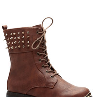 Whiskey Spiked in Style Faux Leather Lace Up Boots