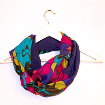 Multicolor Scarf, Bohemian Scarf, Cotton and Polyester Silk, Casual Scarf, Loop Circle Scarf, Spring Fall Scarf, Purple Infinity Scarf