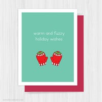 Cute Christmas Card Holiday Cards Handmade Greeting For Friend Happy Holidays Warm And Fuzzy Wishes Mittens Fun Funny Xmas Gifts Gift Ideas