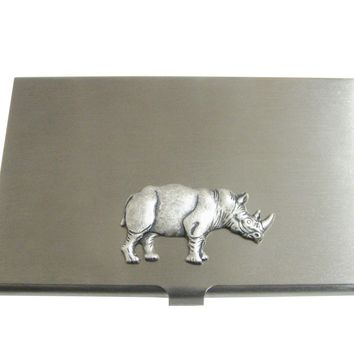 Silver Toned Large Rhino Pendant Business Card Holder